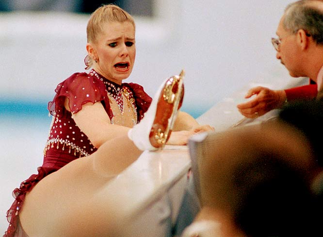 Tonya Harding had trouble keeping her emotions intact as she shows her skate to the judges after interrupting her free skating program.