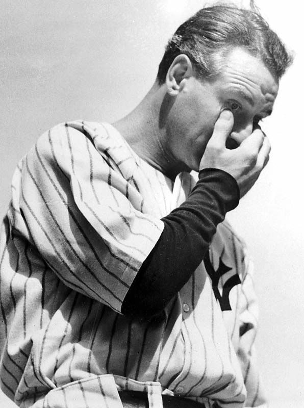 Lou Gehrig is reduced to tears during his retirement speech at Yankee Stadium.