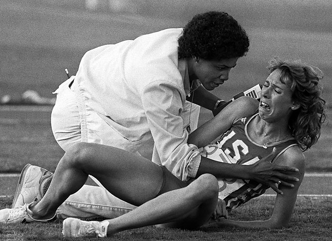 Mary Decker cries out in frustration after falling down during the women's 3000m final at the 1984 Olympic Games.