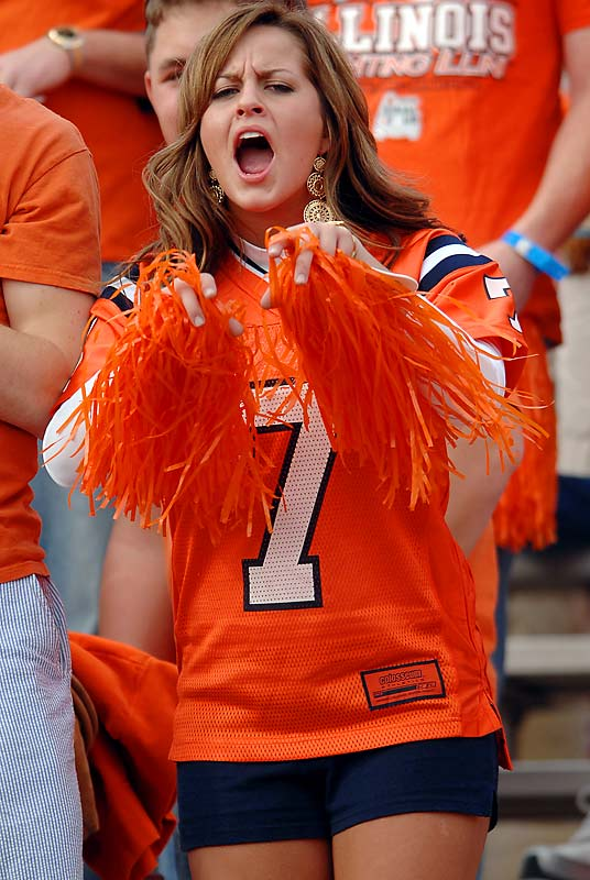 An Illinois fan cheers on her Fighting Illini before the 94th Rose Bowl in Pasadena, Calif.