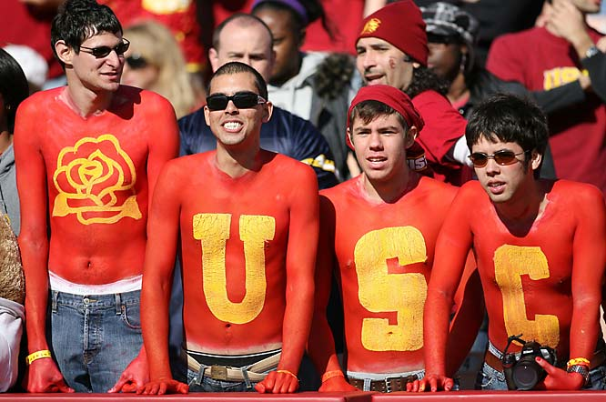 USC fans go all out on the bodypaint for the Trojans' 49-17 Rose Bowl victory over Illinois.