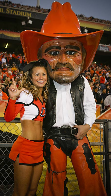 Meet Michaela, a junior at Oklahoma State and proud member of the Cowboys cheer squad. When she's not studying for her major -- fashion design and production -- Michaela likes to eat organic Cheetos while listening to Alanis Morissette. Wanna learn more? Click on the 20 Questions link below.