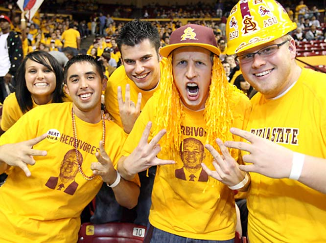ASU fans throw their support behind coach Herb Sendek and the Sun Devils.