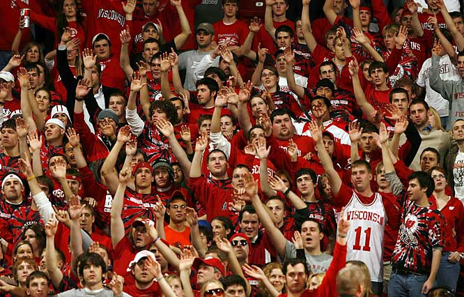 Wisconsin fans wave to the camera before a Big Ten battle against Illinois.