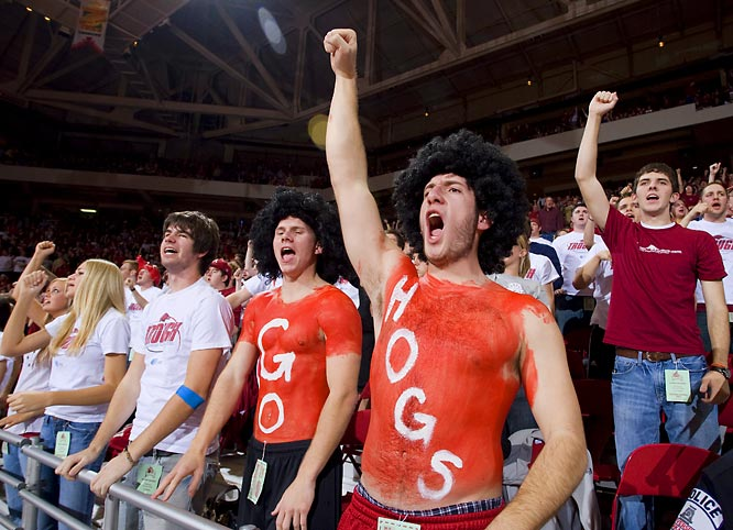 Arkansas fans let out a cheer during the Hogs' 70-66 victory over South Carolina on Wednesday.