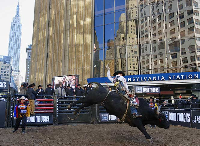 Professional Bull Riders gave spectators a preview of the Versus Invite outside Madison Square Garden on January 3rd.  Just what you'd expect to see in midtown Manhattan.