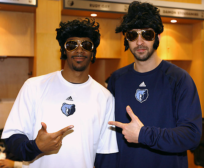 The Grizzlies' Michael Conley (left) and Juan Carlos Navarro were all fired up about Elvis' birthday this past Tuesday.