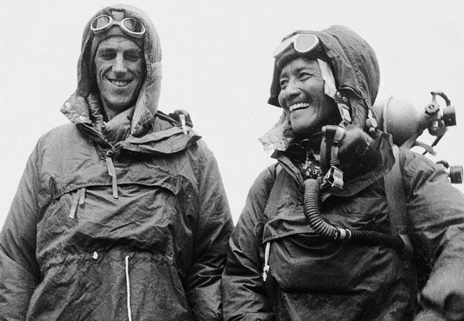 Hillary, with his Sherpa guide Tenzing Norgay, won worldwide acclaim in 1953 by becoming the first to scale the 29,035-foot summit of Mount Everest, the world's tallest peak.