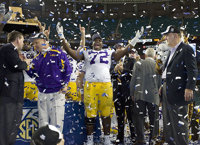 Les Miles held a pregame press conference to dispel a report that he was headed to Michigan and the Tigers captured the SEC title. With Matt Flynn out due to injury, Ryan Perrilloux threw for 243 yards and touchdown, earning MVP honors.