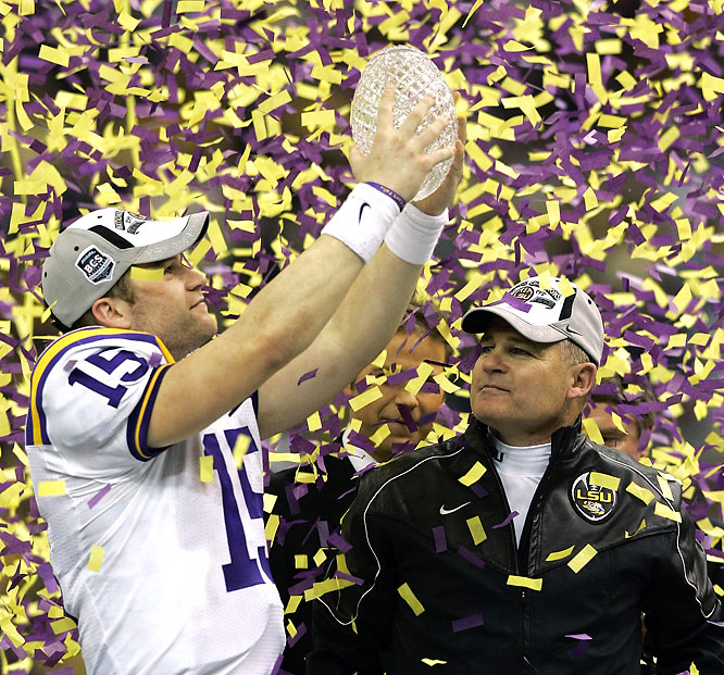 The Tigers finished off their championship season with a convincing title win in front of a hometown crowd in the Superdome. After falling behind 10-0, LSU scored 31 straight points and put the game away. Tigers QB Matt Flynn (left) led the offensive charge with four touchdown passes.