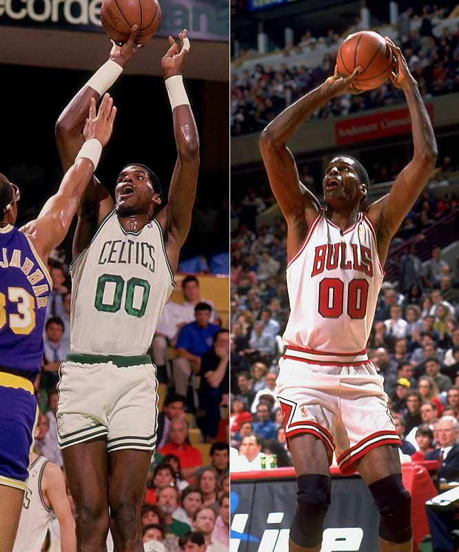The league's all-time leader in games played made his fifth NBA Finals appearance in 1987, when the Celtics suffered a six-game defeat at the hands of the Lakers. The Chief would play nine more seasons with Boston and Charlotte before Jerry Krause signed the 43-year-old free agent to the Bulls as a third-string center behind Luc Longley and Brian Williams. Parish played just 18 minutes in just two games during the playoffs -- but closed out his record-setting career with a fourth championship ring.