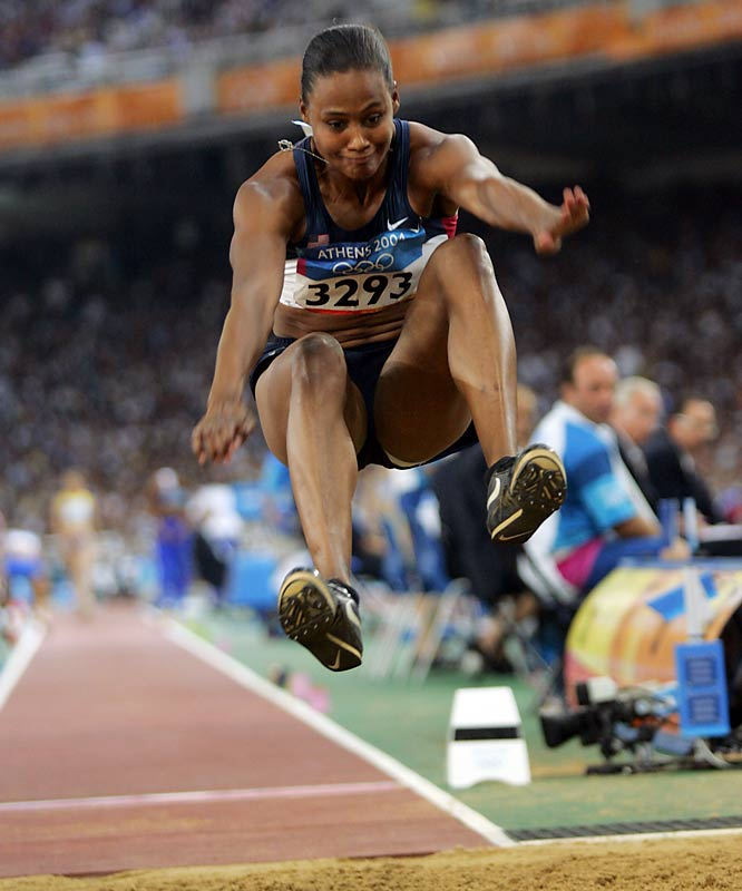 Jones fails to medal at the Athens Olympics, finishing fifth in the long jump, her only individual event.