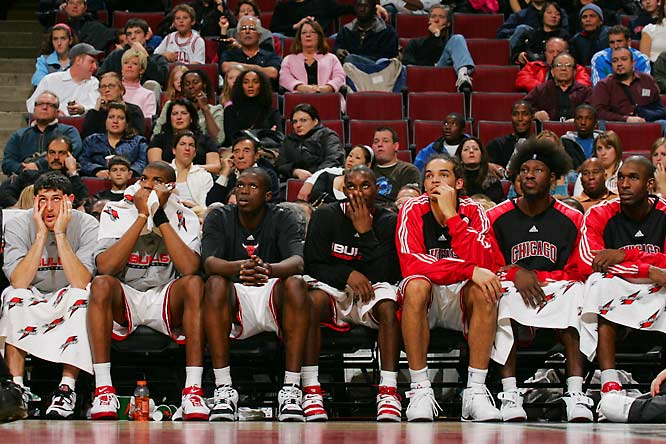A preseason favorite in the East, the Bulls opened 2-10 and eventually fired coach Scott Skiles on Christmas Eve. Ben Wallace and Kirk Hinrich have been awful, Tyrus Thomas (whom Chicago wanted instead of LaMarcus Aldridge in the 2006 draft) hasn't played much and Ben Gordon only recently rediscovered his shooting stroke. Rookie Joakim Noah at least showed some fire in earning a suspension (extended from one to two games by a player vote) for his confrontation with an assistant coach.