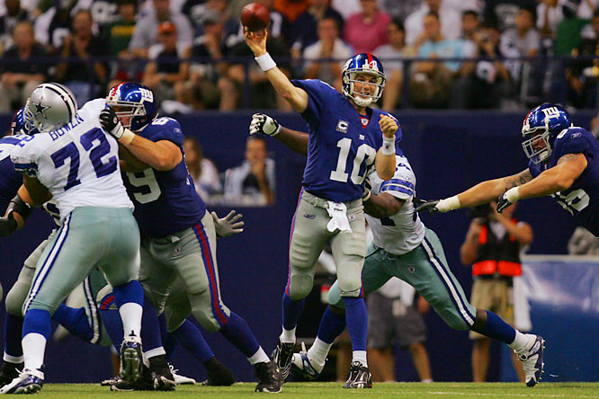 Eli Manning began the season completing 28 of 41 passes for 312 yards and four touchdowns in a 45-35 loss to Dallas.