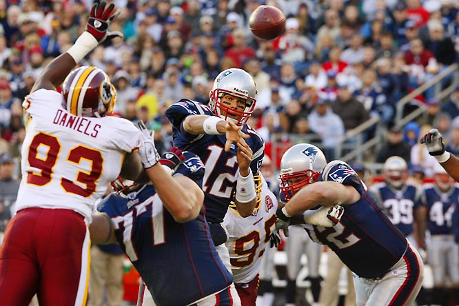 Tom Brady passing against the Washington Redskins.