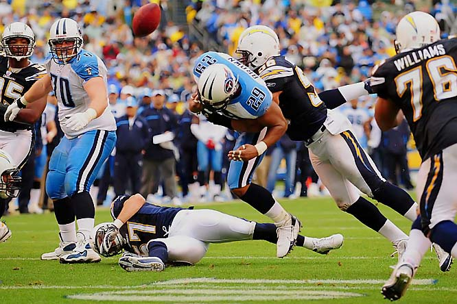 The Titans were heading for a great scoring chance early in the second quarter when Shawne Merriman forced Chris Brown to fumble, with Shaun Phillips recovering at the Chargers 9.