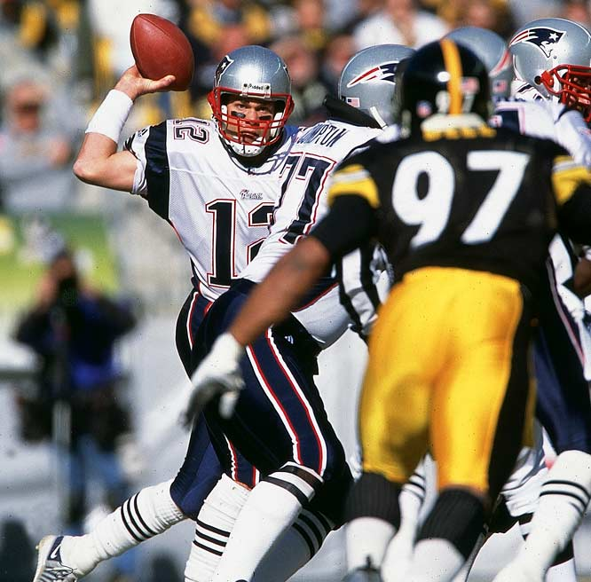 "After throwing for 312 yards and digging the Patriots out of a 10-point hole in the fourth quarter against Oakland in the infamous ""Tuck Rule"" game, Brady teamed with deposed starter Drew Bledsoe to defeat lopsided favorite Pittsburgh for the conference championship. Installed as two-touchdown underdogs against the Greatest Show on Turf in Super Bowl XXXVI, the first-year starter guided the Patriots to a stunning upset -- becoming the youngest quarterback to win the Super Bowl until Ben Roethlisberger."