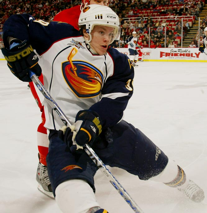 "The undersized (5'10"", 175) blueliner is the big surprise in the Calder race. Enstrom, 23, was an eighth-round pick by Atlanta in 2003 and spent four seasons in the Swedish Elite League. Displaying offensive flair and defensive grit, November's Rookie of the Month earned an Eastern YoungStar invite by leading all rookies in ice time (23:55) and ranking third in assists (27) and blocked shots (67). He's also tied for fourth in points (30)."