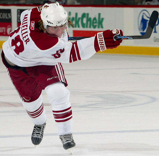 A product of the U.S. National Team Development Program, Mueller, 19, was the eighth overall pick of 2006 and is one of the young mainstays of the Coyotes' bright future hopes. A solid two-way player with size (6'2, 205), he's in Calder contention with 30 points in 48 games, and on the Western YoungStars squad.