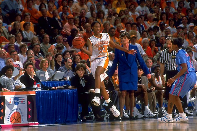 The Volunteers entered the national championship contest with 38 straight victories -- and extinguished Louisiana Tech's upset hopes in the opening stages of the title game. Tennessee sprinted to a double-digit lead in the first five minutes and coasted to a 93-75 victory over the Bulldogs. Chamique Holdsclaw poured in 25 points and brought down 10 rebounds to earn the Most Outstanding Player trophy.
