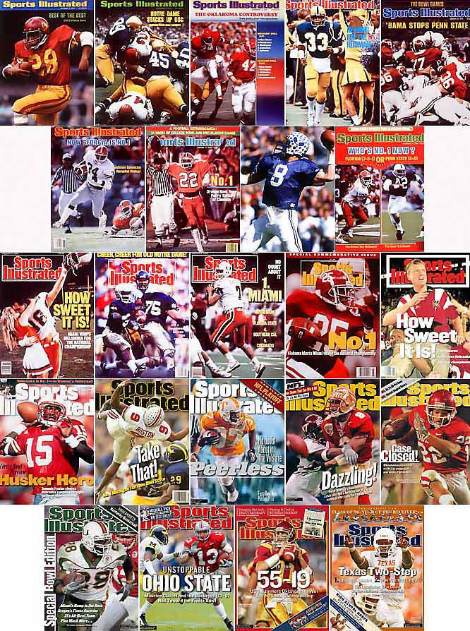 Perfection is practically a prerequisite for college football's Division I national champion, thanks to a relatively short regular season and absence of a traditional playoff format. Twenty-four of the last 36 champs have finished undefeated (pictured at left, listed below) -- with dozens of others having entered bowl season with a perfect record and realistic shot at the title. Until university administrators dump the current system -- as discussed at the recent NCAA convention -- college football will remain the lone mainstream sport where a ''perfect'' team can finish second.<br><br> (From top left: 1972 USC, 1973 Notre Dame, 1974 Oklahoma, 1976 Pittsburgh, 1979 Alabama, 1980 Georgia, 1981 Clemson, 1984 BYU, 1986 Penn State, 1987 Miami, 1988 Notre Dame, 1991 Miami, 1992 Alabama, 1994 Nebraska, 1995 Nebraska, 1997 Michigan, 1998 Tennessee, 1999 Florida State, 2000 Oklahoma, 2001 Miami, 2002 Ohio State, 2004 USC, 2005 Texas.)