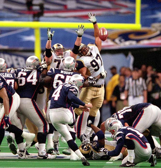 The Rams out-gained the Patriots 427-267 in total yards, but it all came down to 17-17 with 1:30 left. With no timeouts left, Tom Brady used his uncanny precision passing to drive the Pats to the Rams' 30, where he spiked the ball with seven seconds to go. Adam Vinatieri then coolly nailed a 48-yarder to give New England its first Super Bowl title. It was the first time the big game was won on the final play.
