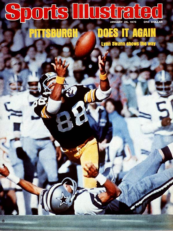 This leaping, juggling, acrobatic, 53-yard catch in the second quarter captured the essence of Lynn Swann that day. Playing with the after-effects of a concussion, Swann set a Super Bowl record of 161 yards on four receptions. His 64-yard TD in the fourth quarter sealed Pittsburgh's 21-17 win, but the image of him tumbling over Cowboy CB Mark Washington is the enduring moment.