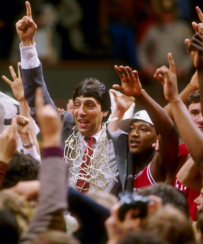 Houston's Phi Slamma Jamma hit a defensive wall against N.C. State. The Cougars converted just one dunk in the game, while the Wolfpack had two — the most famous coming when Lorenzo Charles tossed in a Dereck Whittenburg air ball at the buzzer to beat Houston 54-52.