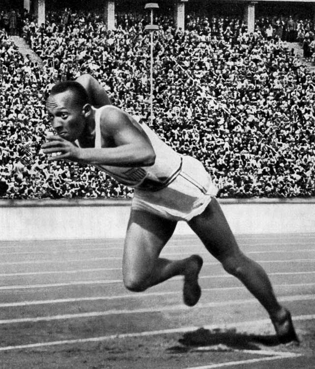 With Adolf Hitler watching closely at the 1936 Berlin Olympics, Owens stood out with his four gold medals in the 100 and 200 meters, 4x100-meter relay, and the long-jump.