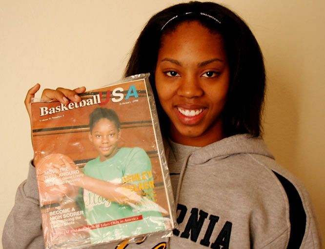 Ashley's been a basketball star forever, as evidenced by this magazine cover from 1998. It seems to run in the family: her brother, Tiran, played at Azusa Pacific University and is now a player-coach in England. Ashley watches his games online whenever she has a chance.