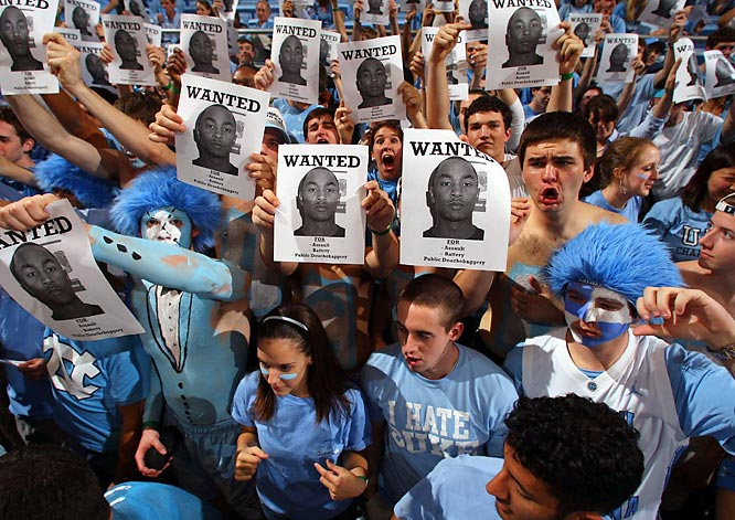 UNC fans don't have much love for Gerald Henderson after his alleged cheap shot on Tyler Hansbrough last season.