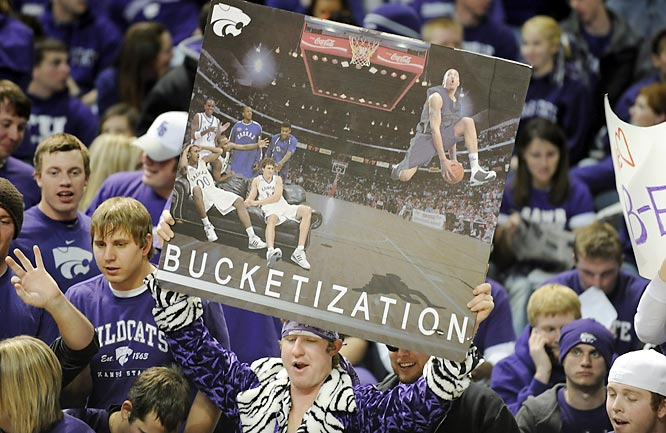 Kansas State fans enjoy their bucketization of the rival Jayhawks.