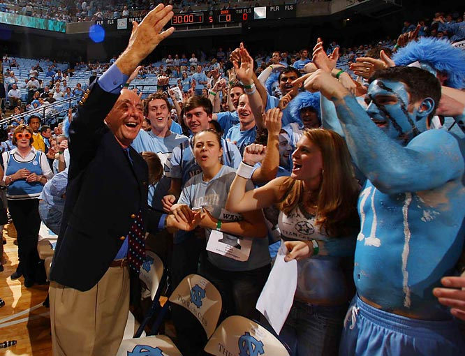 Dick Vitale waves to the Chapel Hill crowd after his return to the broadcast booth last Wednesday for the Duke-UNC game.