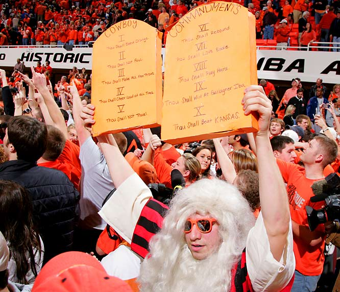 This Oklahoma State fan was in heaven after the Cowboys accomplished the 10th Commandment by beating Kansas, 61-60.