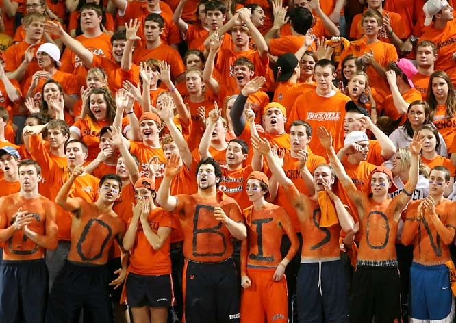 The Bucknell student section cheers on the Bison during a 63-53 victory over Holy Cross.