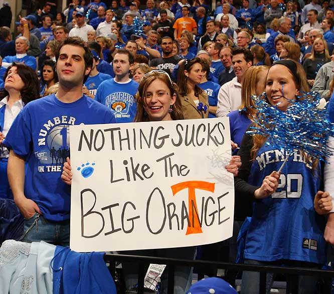 The words of this Memphis fan proved untrue as Tennessee held off undefeated Tigers, 66-62.