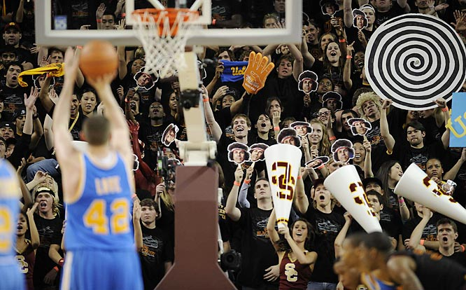 UCLA's Kevin Love deals with some minor distractions from the USC faithful.