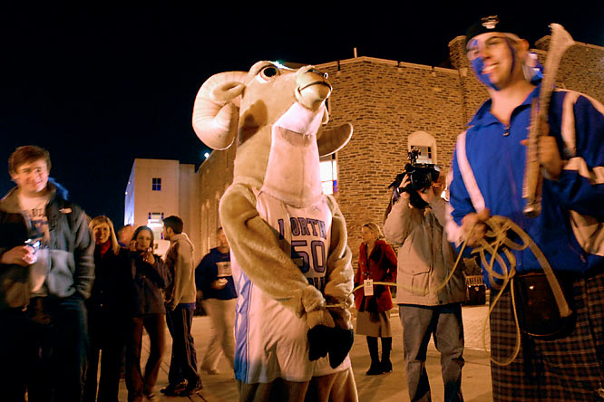 Fans taunt a fake UNC mascot before the two teams faced off last February in Durham.