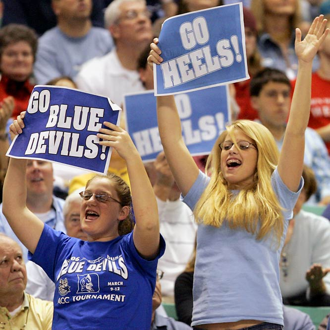 This Heels fan seems a bit more enthusiastic than her Duke counterpart.