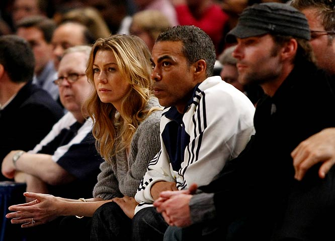 From the looks on their faces, 'Grey's Anatomy's' Ellen Pompeo, husband Chris Ivery and 'American Pie's' Sean William Scott could only be watching one team -- the New York Knicks.