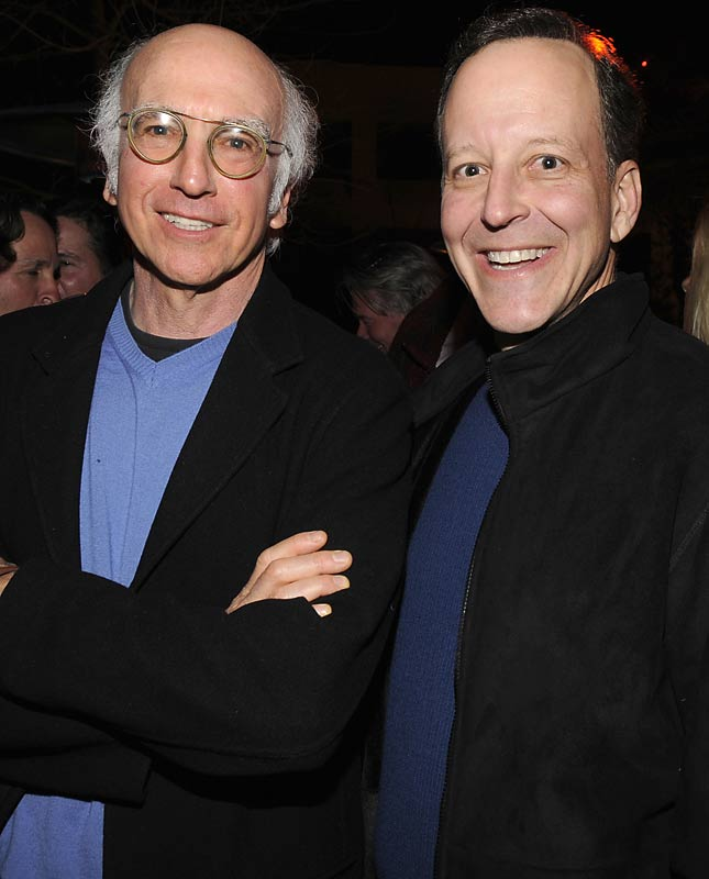 Larry David has already given the New York Jets some tips. Did he offer some interview advice to Jim Gray while the two attended the CAA party?