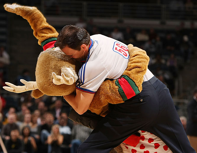 Those refs and mascots like to get romantic around Valentine's Day.