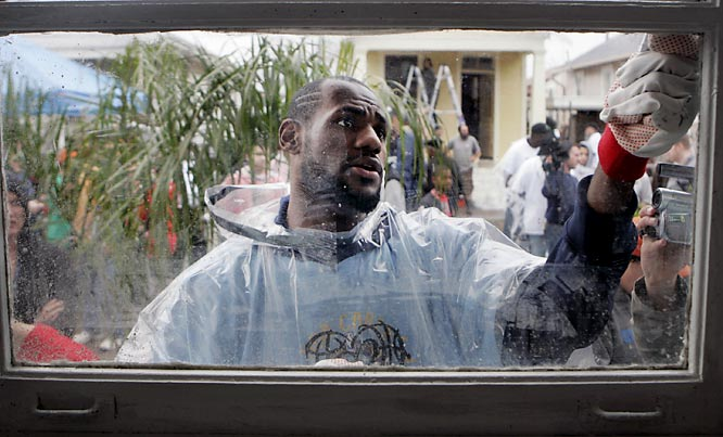 He was determined to show his versatility during All-Star Weekend. First, he cleaned some windows...
