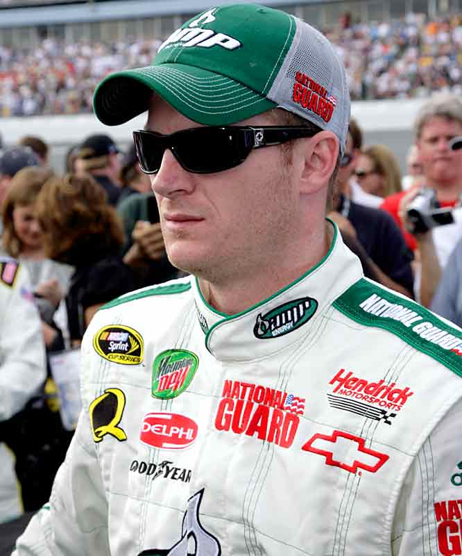 Dale Earnhardt, Jr. morphs into race-intensity mode just moments before the Daytona 500 drivers start their engines.