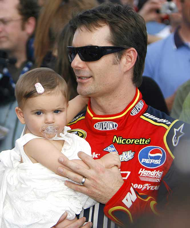 Jeff Gordon gets in a few minutes of family time with his young daughter, Sofia, prior to the Daytona 500. The three-time champion finished 39th.