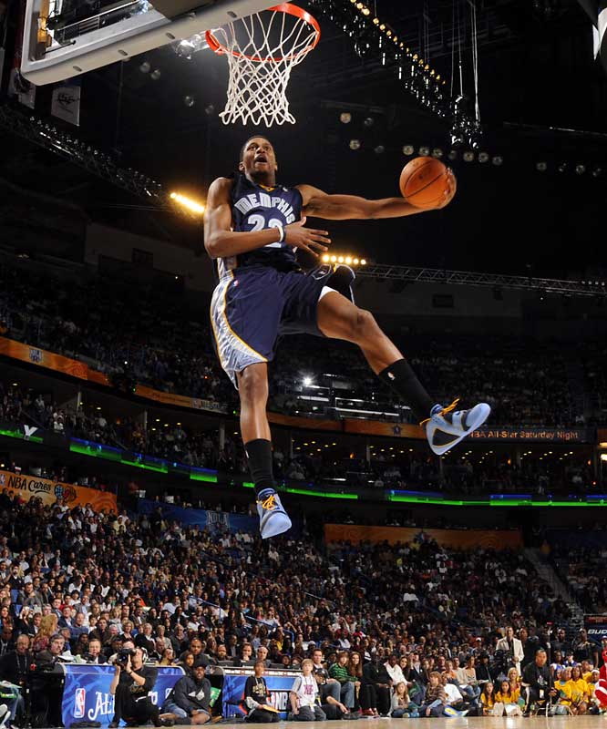 Rudy Gay, who finished fourth, goes up for one of his first-round dunks.