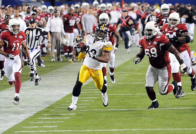 In one of the biggest momentum swings of any Super Bowl, the Arizona Cardinals went from on the verge of scoring a go-ahead touchdown to trailing 17-7 on final play of the first half. Pittsburgh Steelers linebacker James Harrison faked a blitz, then dropped into coverage, picking off Kurt Warner and returning the interception 100 yards for a touchdown, the longest play in Super Bowl history. The 2008 Defensive Player of the Year's score was the Steelers' final touchdown until Santonio Holmes' game-winning grab with 35 seconds remaining.
