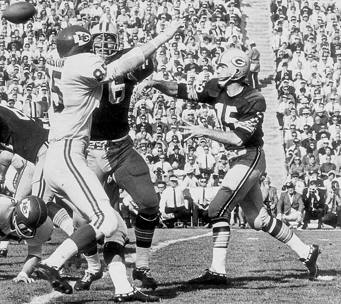 The longtime Green Bay signal-caller completed 16 of 23 passes for 250 yards and two touchdowns as the Packers hammered the Chiefs, 35-10, in the inaugural AFL-NFL World Championship Game. The future Hall of Famer collected MVP honors in leading Green Bay to the fourth of its five league titles during the 1960s.