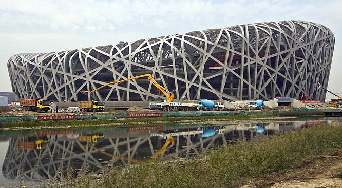 The iconic symbol of the Olympics will be the $485 million Bird's Nest national stadium. The 91,000-seat building is a soaring steel wicker basket that symbolizes China's 21st century ambitions.