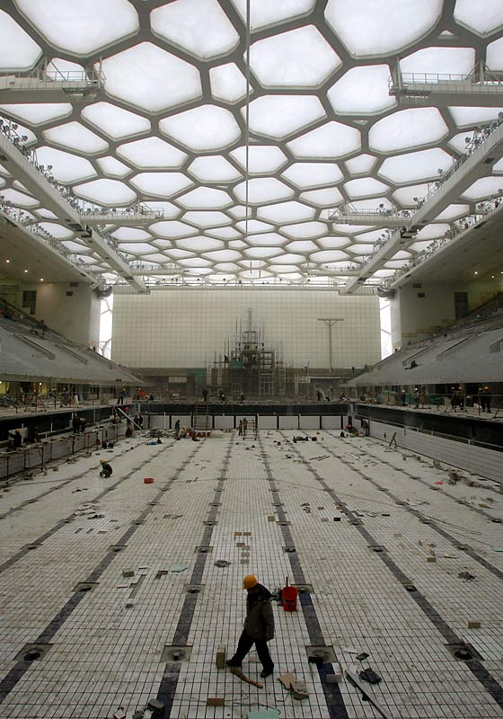 The $200 million National Aquatics Center, known as the Water Cube, will host swimming, diving and water polo.